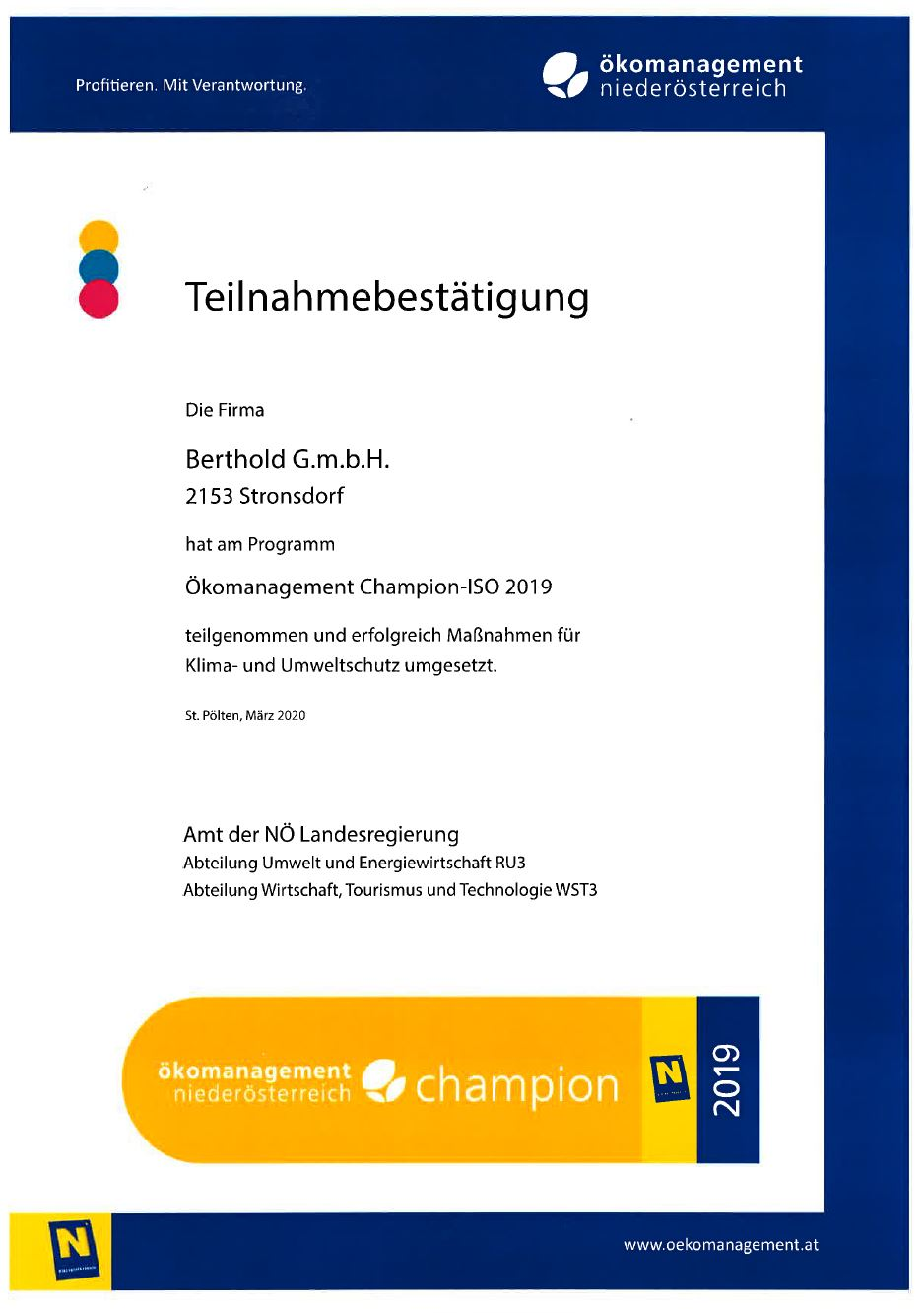 Ökomanagement Champion-ISO 2019